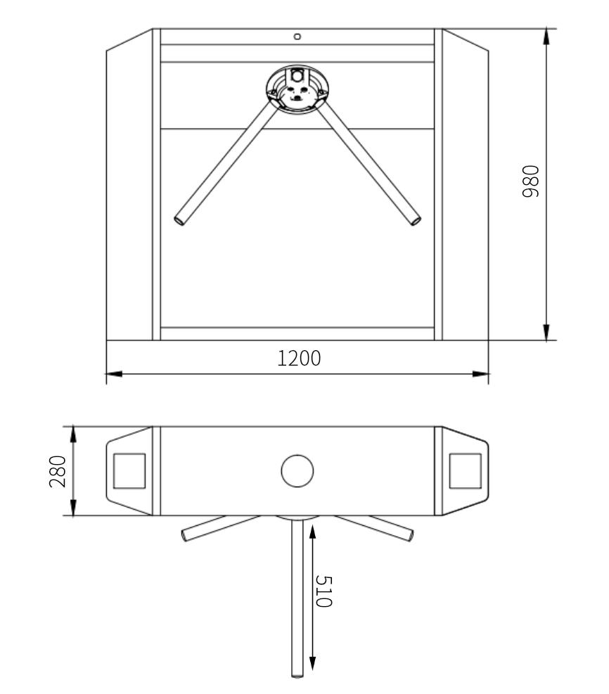 景区智能三辊闸(YJLH-SR901)尺寸