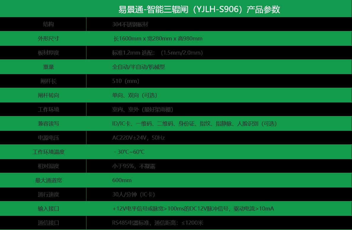景区智能三辊闸(YJLH-SR906)参数