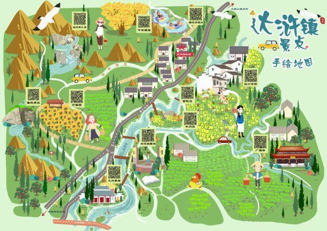 易景通精心打造《达浒镇景点手绘地图》